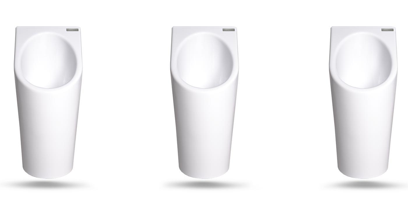 Senza Aqua wasserloses Urinal Sanitärkeramik Arrangement 3 Stück nebeneinander weiss