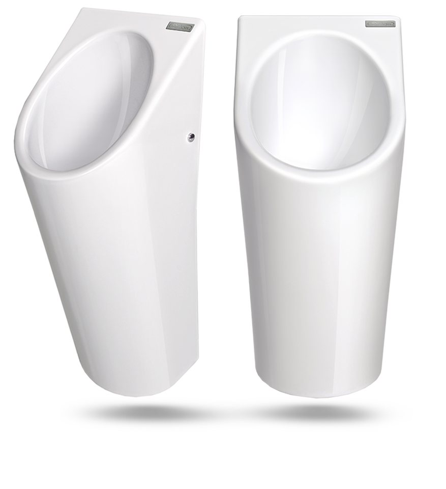 Wasserloses Urinal Senza Aqua Ceramic weiss Ansicht links und frontal
